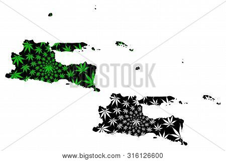 East Java (subdivisions Of Indonesia, Provinces Of Indonesia) Map Is Designed Cannabis Leaf Green An