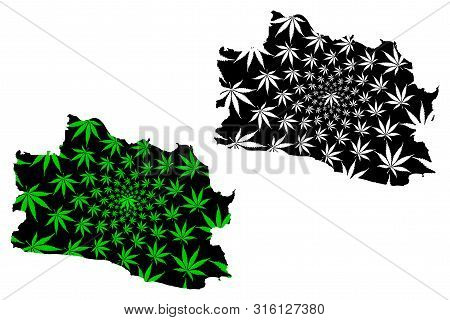 West Java (subdivisions Of Indonesia, Provinces Of Indonesia) Map Is Designed Cannabis Leaf Green An