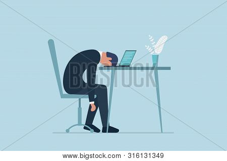 Professional Burnout Syndrome. Exhausted Sick Tired Male Manager In Office Sad Boring Sitting With H