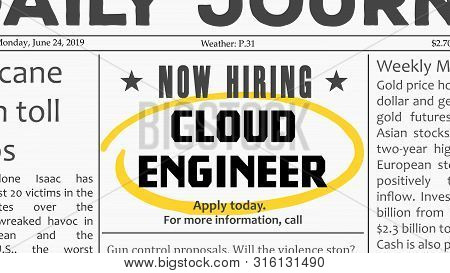 Cloud Engineer Job Offer. Newspaper Classified Ad Career Opportunity.