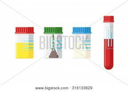 Medical Analysis Laboratory Test Urine Stool Feces Sperm Semen And Blood In Plastic Jars With Colore