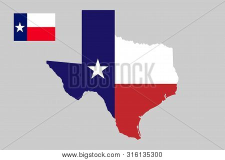 U.s. State Of Texas Map Outline And Flag.vector Illustration. Eps10