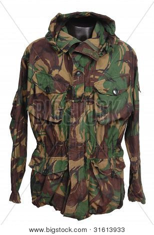 Camouflage jacket. british military windproof camouflage jacket as issued to SAS and royal Marine commandos poster
