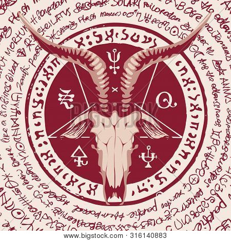 Vector Banner With Illustration Of The Head Of A Horned Goat And Pentagram Inscribed In A Circle. Th