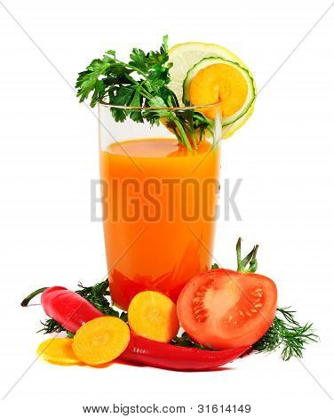 Vegetable juice and vegetables isolated on white poster