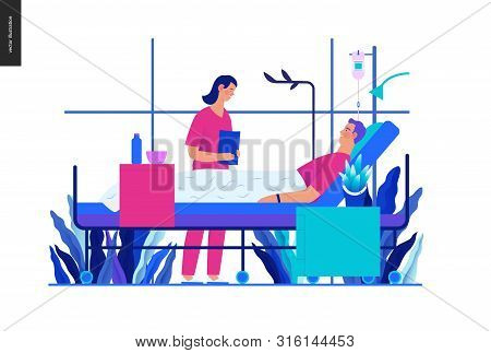 Hospitalization -medical Insurance Template -modern Flat Vector Concept Digital Illustration - A Hos
