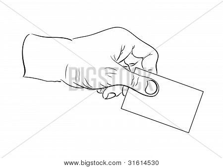 Man's hand holding visit card