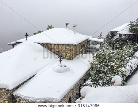 An Anomalous Phenomenon On The Holy Mount Athos, Snow Fell And Covered Green Trees