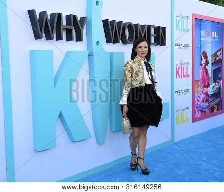 LOS ANGELES - AUG 07:  Lucy Liu arrives for the CBS AllAccess 'Why Women Kill' Premiere Screening on August 07, 2019 in Beverly Hills, CA