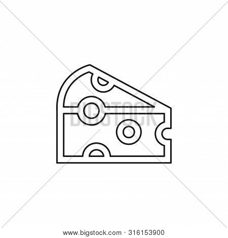 Vector Cheddar Cheese Illustration Isolated, Breakfast Or Snack Symbol. Thin Line Pictogram - Outlin