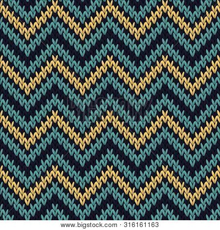 Zig zag knitted seamless pattern vector design. Gold blue winter jumper knitwear fabric print. Nordic pullover knitted seamless pattern in traditional christmas style. poster