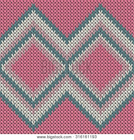 Geometric Knitted Seamless Pattern Vector Design. Pink Ray White Winter Jumper Knitwear Fabric Print
