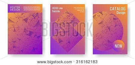 Stylish Cover Layout Design. Global Network Connection Polygonal Grid. Interlinked Nodes, Atom, Web