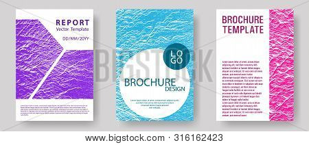 Brochure Layout Design Templates. Teal Pink Purple Waves Texture Backdrops. Buzzing Rippling Motion