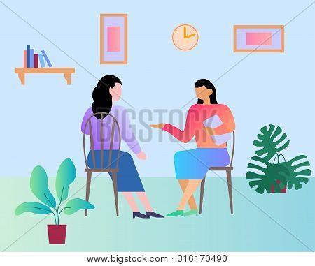 Reception At The Psychologist. Psychologist, Client, Therapy, Problem Concept