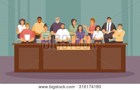 Twelve Jurors In The Courtroom. Vector Illustration
