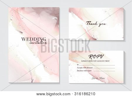 Marble Wedding Cover Background Vector Set. Marble Tender With Texture. Modern Design Background For