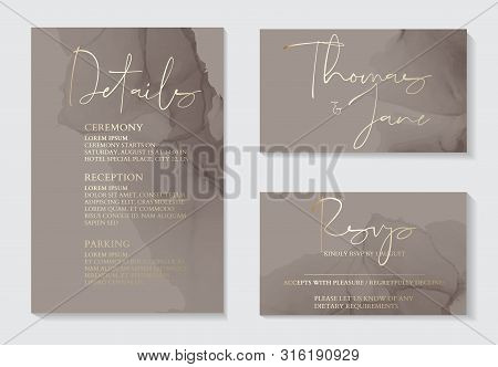 Luxury Soft Decor, Dark Grey Wedding Invitation Cards With Gold Marble Texture And Geometric Pattern