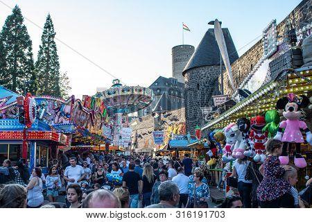 Mayen Germany 14.10.2018 Fairground Huge Carousel Swing Ride At Folk Festival In Rhineland Palantino