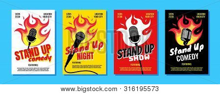 Stand Up Club Comedy Night Live Show A3 A4 Poster Design Template Set. Retro Microphone With Fire On