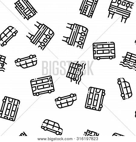 Public Transport Seamless Pattern Vector. Trolleybus And Bus, Tramway And Train Illustration