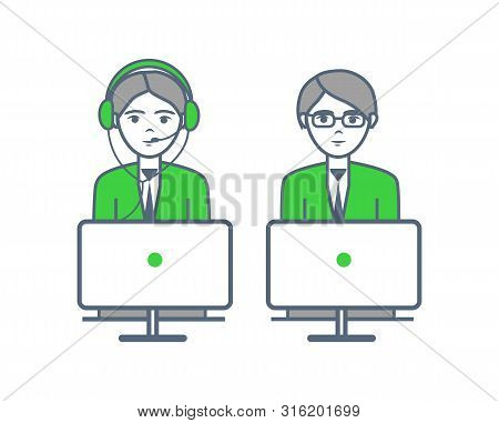 Consultants Man And Woman Consulting People On Support Non Stop Hotline Isolated Icons On White. Peo
