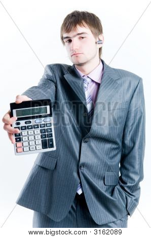 Tired Businessman With Calculator