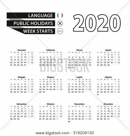 Calendar 2020 In Italian Language, Week Starts On Monday. Vector Calendar 2020 Year.