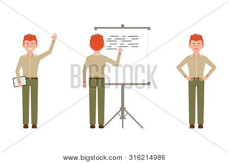 Happy, Confident, Red Hair Young Man In Green Pants Vector Illustration. Standing With Notes, Waving