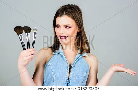 Professional Makeup Supplies. Different Brushes. Makeup Cosmetics Concept. Emphasize Femininity. Gir