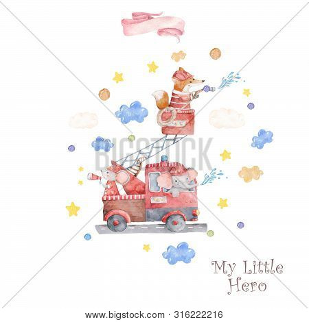 Watercolor Rescue Kit. Little Heroes The Fire Rescue Funny Cartoon, Hand Drawn Colorful Illustration