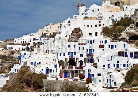 Village of Oia at Santorini in Greece
