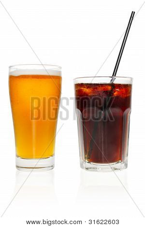 Beer And Cola On White Background.