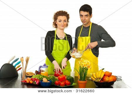 Couple Preparing Dinner