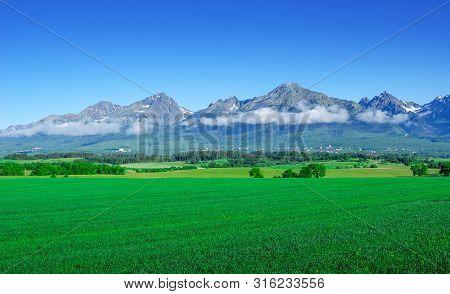 Scenic Landscape Of A Mountain Range On A Summer Day. High Tatras, Slovakia.