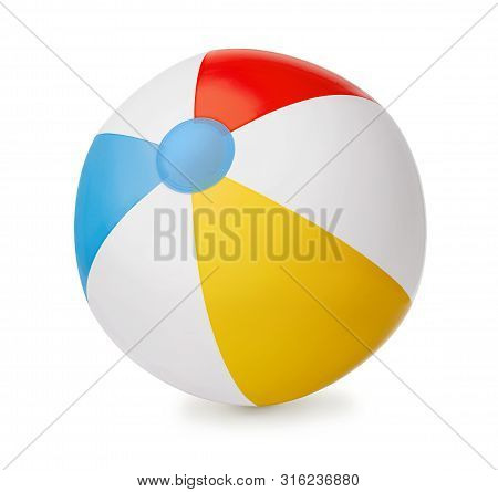 Clorful Inflatable Beach Ball Isolated On White Background