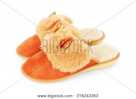 Slippers In The Shape Of A Fox With Ears Isolated On A White Background, Women's Or Children's Indoo