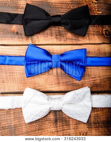 shopping concept. vintage bow tie collection. retro style. Groom wedding. male bow tie on wood. Fashion accessory. Wedding accessories. Elegant look. Esthete detail. Modern formal style poster