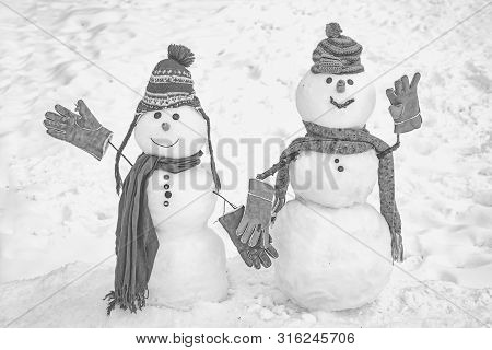 Snowman Couple In Love Have Fun Christmas Or New Year. Happy New Year Snowman Friends. Trust In Love