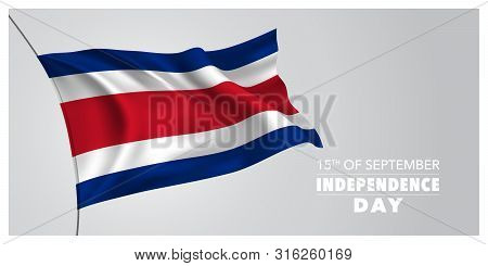 Costa Rica Happy Independence Day Greeting Card, Banner, Horizontal Vector Illustration. Costa Rican