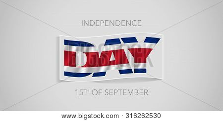 Costa Rica Happy Independence Day Vector Banner, Greeting Card. Costa Rican Wavy Flag In Nonstandard
