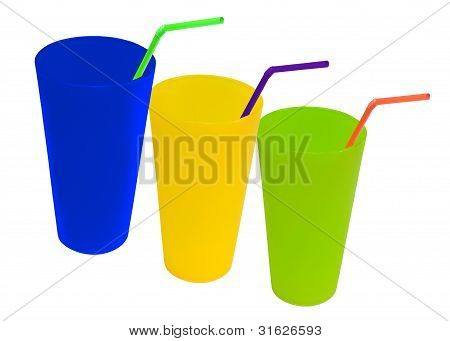 blue,yellow and green cup with straws
