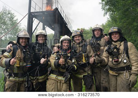 Petropavlovsk-kamchatsky City, Kamchatka Peninsula, Russia - Aug 7, 2019: Fire Brigade Of Fire Depar