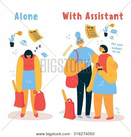 A Personal Assistant Helps A Woman With Household Chores.tired Of Homework, A Woman Seeks Help From