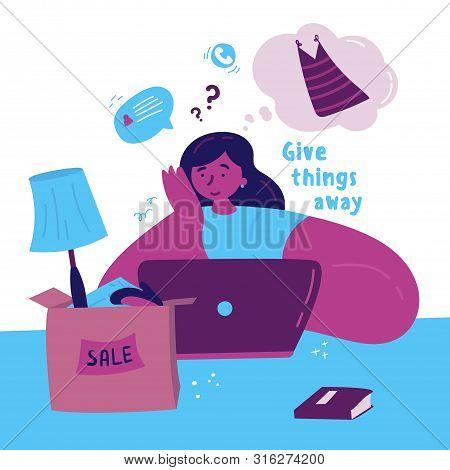 Young Woman Selling Unnecessary Things And Clothes On The Internet.girl Sorts Her Clothes And Things