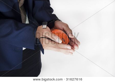 women business hold mouse