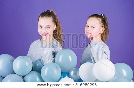 International Childrens Day. Carefree Childhood. Sisters Organize Home Party. Greeting Concept. Havi