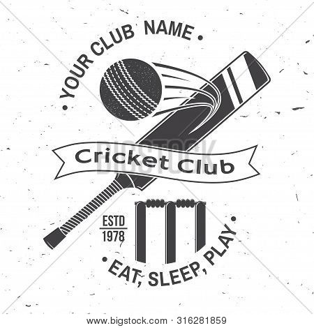 Cricket Club Badge. Vector Illustration. Concept For Shirt, Print, Stamp Or Tee. Vintage Typography
