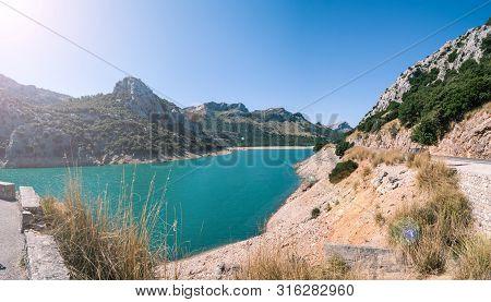 Panoramic View Of Grought In Gorg Blau Reservoir In Majorca, Spain 2.