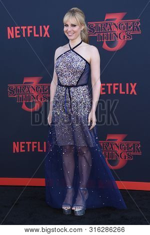 LOS ANGELES - JUN 28:  Cara Buono arrives for the Netflix 'Stranger Things' Season 3 Premiere on June 28, 2019 in Santa Monica, CA